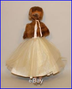 1950s Madame Alexander 20 Inch Cissy Doll in White Lace Dress with Fur Stole