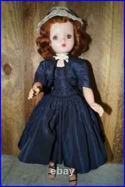 1955 Madame Alexander Cissy In Navy Blue Taffeta Dress & Jacket