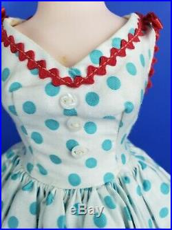 1956, Cissy VHTF Original Sun Dress with Aqua Dots and Red Accents