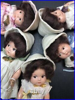 7 Antique Vintage Madame Alexander Set Of 5 Quintuplets Toddler Composition #X