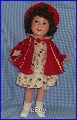 JANE WITHERS 17 Composition MADAME ALEXANDER doll Brown FLIRTY EYES Mohair wig