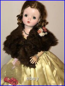 Madame Alexander 1955 Cissy in Rare Yellow Slipper Satin Evening Gown