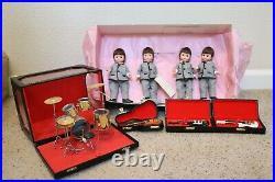 Madame Alexander 1997 ROCK GROUP (Beatles) Dolls-4 Dolls with3 Guitars & Drum Set