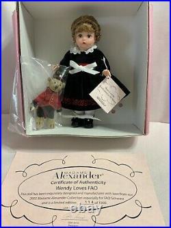 Madame Alexander 2002 Wendy Loves FAO Schwarz #34580 COA 114/1500
