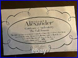 Madame Alexander Abigail The Fall Season Col Williamsburg Doll LE COA