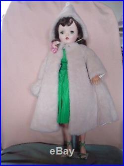 Madame Alexander Vintage Cissy Doll In Pristine Coat Ensemble & Emerald Taffeta