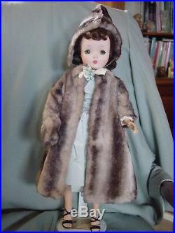 Madame Alexander Vintage Hard Plastic Cissy Doll In Grey Faux Fur Emsemble
