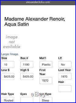 New 10 Cissette Renoir Portrette Doll #1180 Madame Alexander