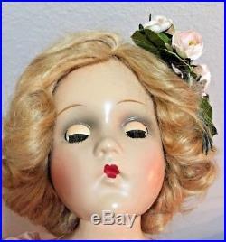 VINTAGE 1940 Madame Alexander Wendy Face Composition Bridesmaid Doll 18