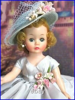 VINTAGE 1950 MADAME ALEXANDER CISSETTE DOLL tagged BLUE DRESS shoes HAT blonde