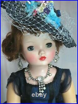 VINTAGE 1950 Madame Alexander CISSY DOLL 20 tagged NAVY taffeta DRESS shoes HAT