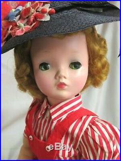 VINTAGE 1950 Madame Alexander CISSY DOLL blonde 20 in TAGGED red DRESS poodle