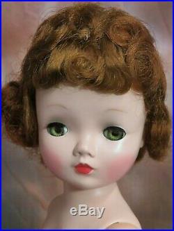 VINTAGE 1950 Madame Alexander CISSY DOLL red head 20 PINK stripe DRESS hat