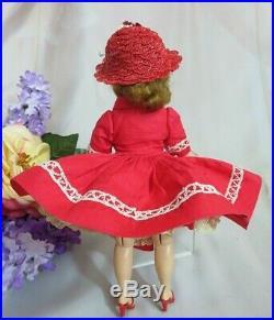 VINTAGE 1950s MADAME ALEXANDER CISSETTE DOLL Tosca tagged RED dress ORIGINAL HAT