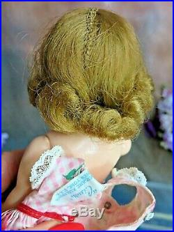VINTAGE 1950s Madame Alexander CISSETTE DOLL tagged PINK DRESS hat TRIPLE part