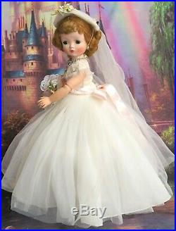 VINTAGE 1956 Madame Alexander CISSY DOLL blonde TAGGED Medici BRIDE DRESS hat