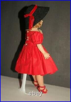 VINTAGE Madame Alexander HP CISSETTE Doll in #913 Red Dress Black Hat EUC 1950s