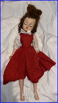 Vintage 1957 Alexander CISSY Doll W Red Taffeta Street Dress withPolka Dot #2110