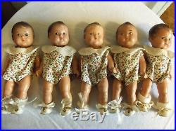 Vintage Alexander Doll Company Dionne Quintuplet Dolls Set Of 5