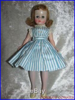 Vintage Blonde Madame Alexander Dollcissette In Tagged Blue Striped Dress