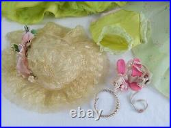 Vtg Alexander CISSY Doll Outfit GREEN FLORAL Dress Pink Sash HAT Slip Undies