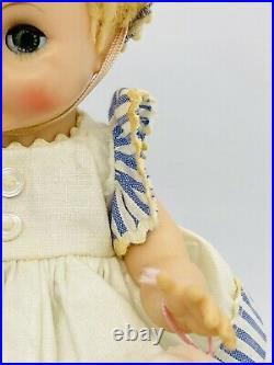 Vtg Madame Alexander Little Genius Doll 8 Tagged Stripe Bonnet Hat Dress Bottle